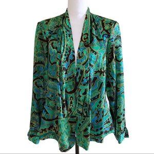 Vintage Silk Printed Blouse Jacquard V Neck Green